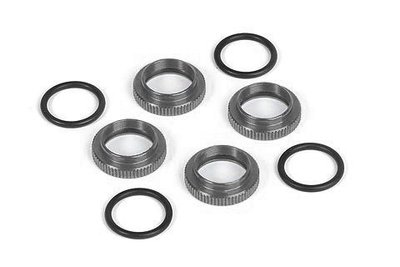 SHOCK ADJ. NUT ALU + O-RING - BLACK (4) -