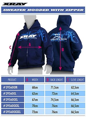 Xray Sweater Hooded With Zipper - Blue (l), X395600l - 395600L
