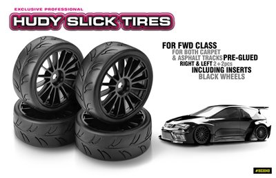 Hudy 1/10 Slick Tires Right & Left (2+2) - 803040