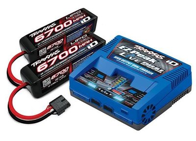 Traxxas Battery/charger Completer Pack (includes #2973 Dual Id Charger (1), #2890x 6700mah 14.8v 4-cell 25c Lipo Battery (2)) - 2997G