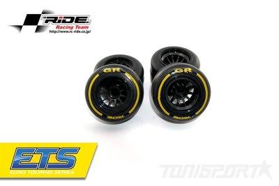 26042 Ride F1 Rear Rubber Slick Tires GR Compound 61mm Preglued Asphalt