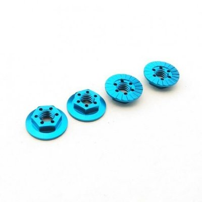 Hiro Seiko Thin Serrated Wheel Nut 4mm (T-Blue   4pcs)