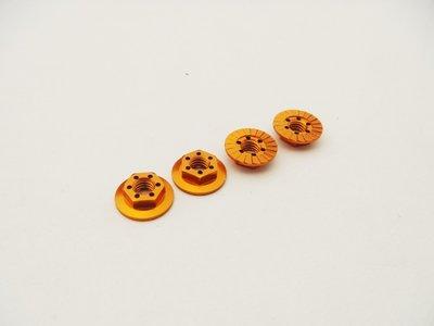 Hiro Seiko 4mm Alloy Serrated Wheel Nut -11mm Thin Type (Orange, 4pcs)