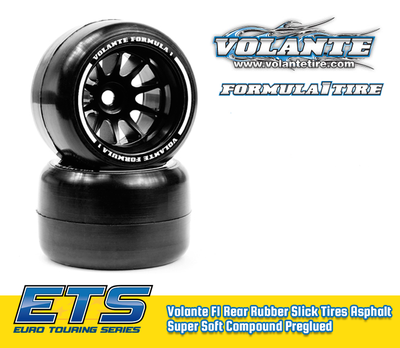 Volante F1 Rear Rubber Slick Tires Asphalt Super Soft Compound Preglued - VT-VF1-ARSS