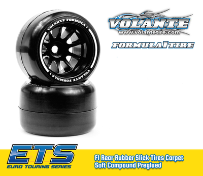 Volante F1 Rear Rubber Slick Tires Carpet Soft Compound Preglued (Carpet) - VT-VF1-CRS