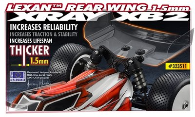 XRAY LEXAN REAR WING 1.5MM - 323511