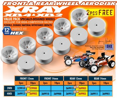 XRAY 4WD/2WD REAR WHEEL AERODISK WITH 12MM HEX - WHITE (10) - 369903