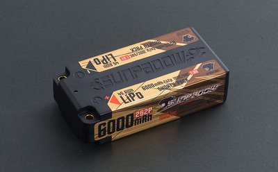 SUNPADOW 6000mAh-2S2P-7.6V-100C/50C(HV) LiPo Battery (shorty pack) - 554385