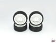 Ride 1/10 Slick Tires Precut 24mm Pre-glued with 16 Spoke Wheel White 4pcs - 24025PG